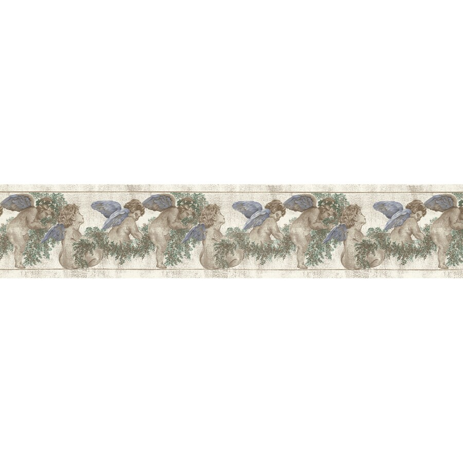 Shop allen roth 6 3 4 blue cherubs and ivy trail for Prepasted wallpaper