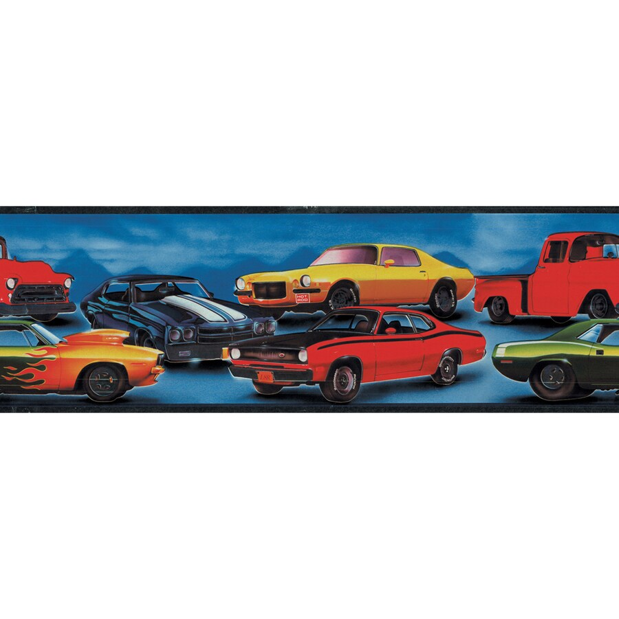"allen + roth 6-7/8"" Blue Hot Rod Cars Prepasted Wallpaper Border"