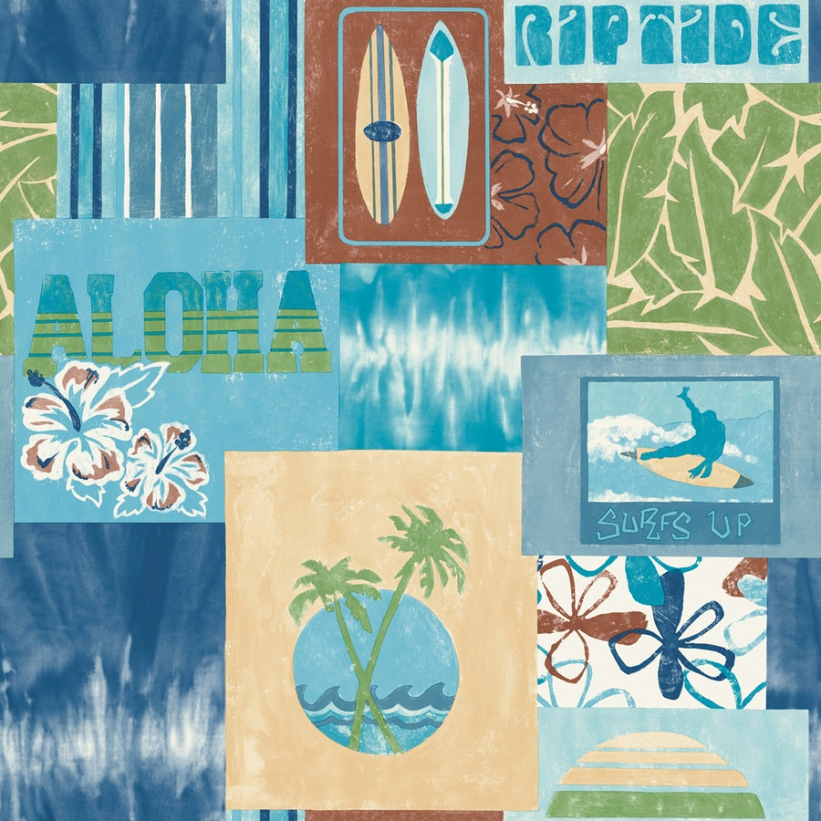 allen + roth Blue Strippable Non-Woven Paper Prepasted Classic Wallpaper