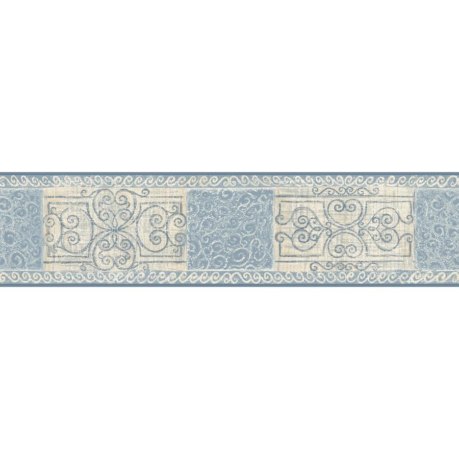 Shop allen roth blue prepasted wallpaper border for Wallpaper lowe s home improvement