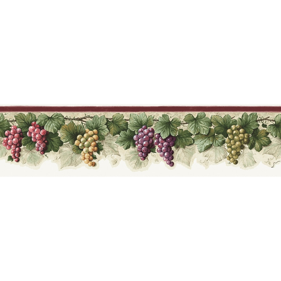 Shop allen roth 6 in purple prepasted wallpaper border for Prepasted wallpaper