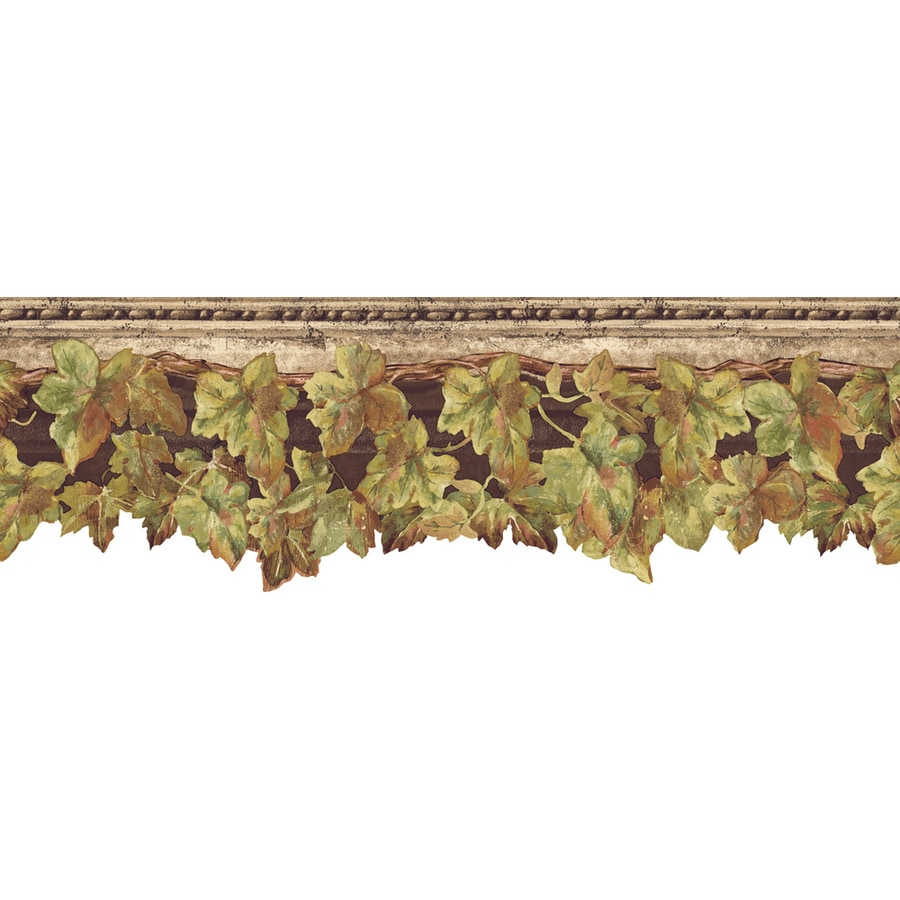 Shop allen roth 6 5 in brown prepasted wallpaper border for Wallpaper lowe s home improvement