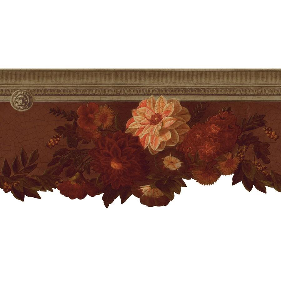 Shop allen roth 10 1 4 brown die cut floral prepasted for Prepasted wallpaper