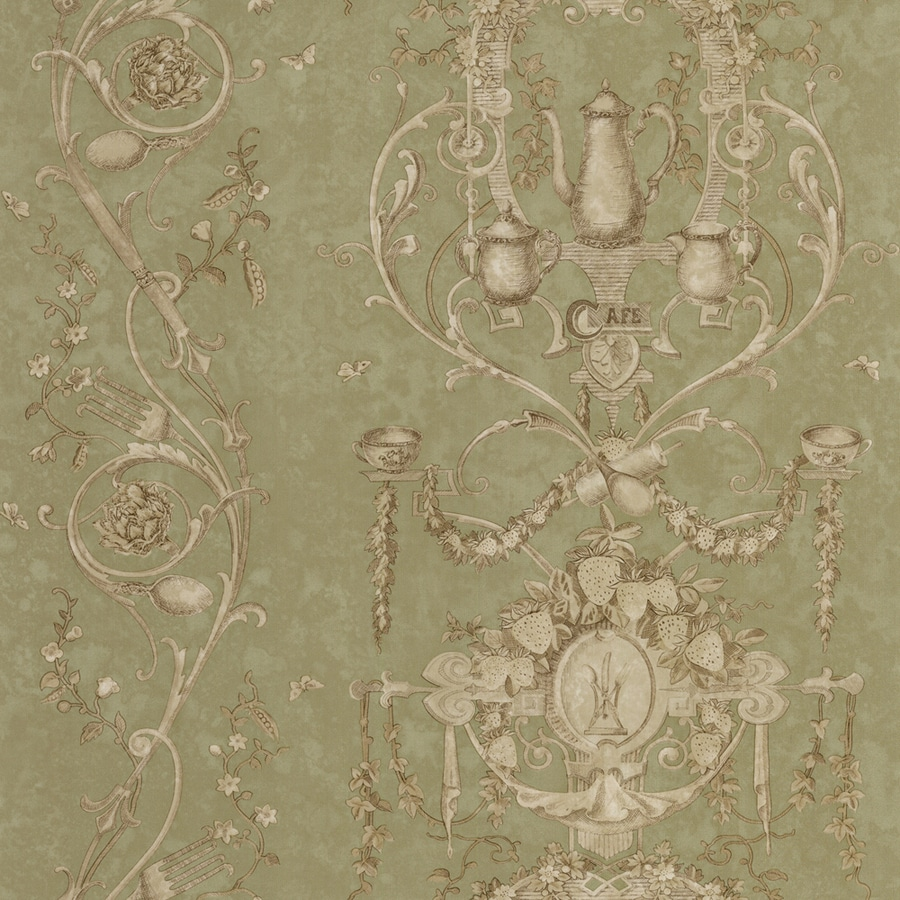 Shop allen roth green peelable vinyl prepasted classic for Prepasted wallpaper