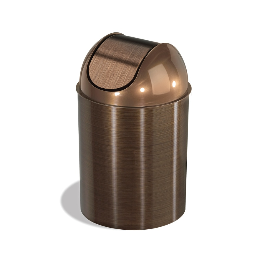 Shop Umbra Mezzo 2 5 Gallon Bronze Plastic Trash Can At