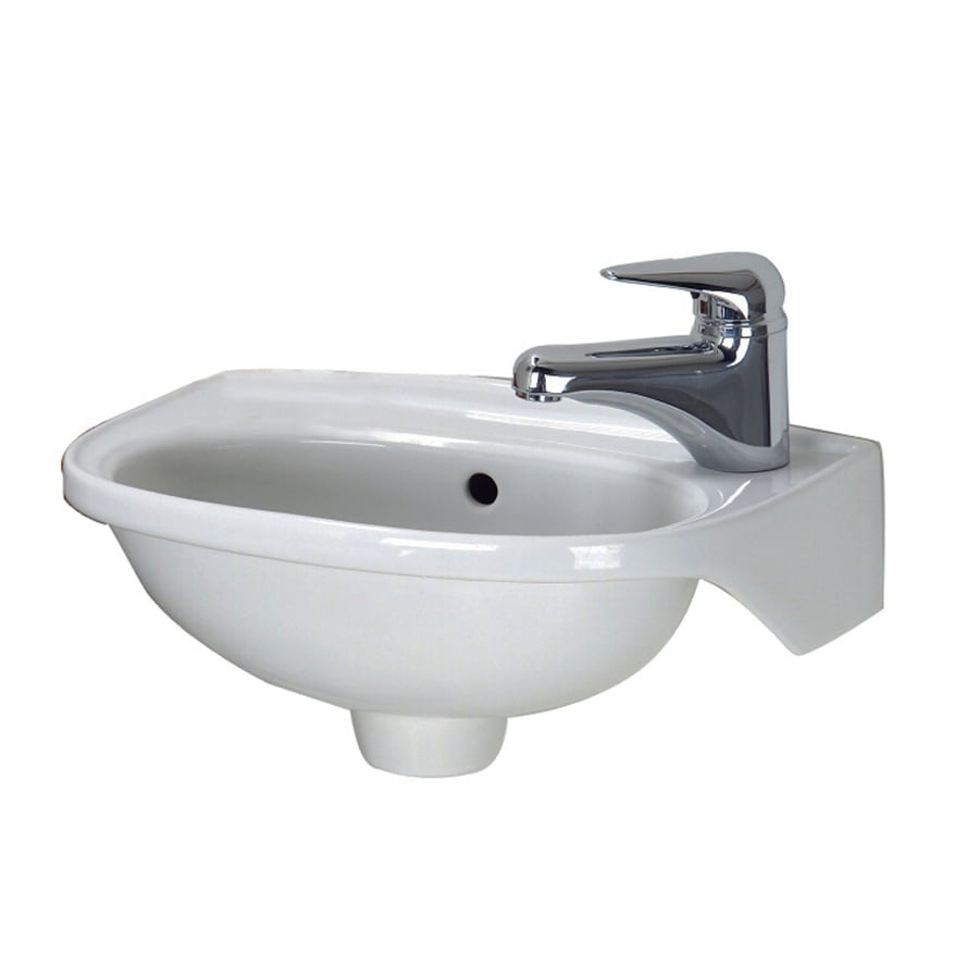 Barclay White Wall-Mount Oval Bathroom Sink with Overflow