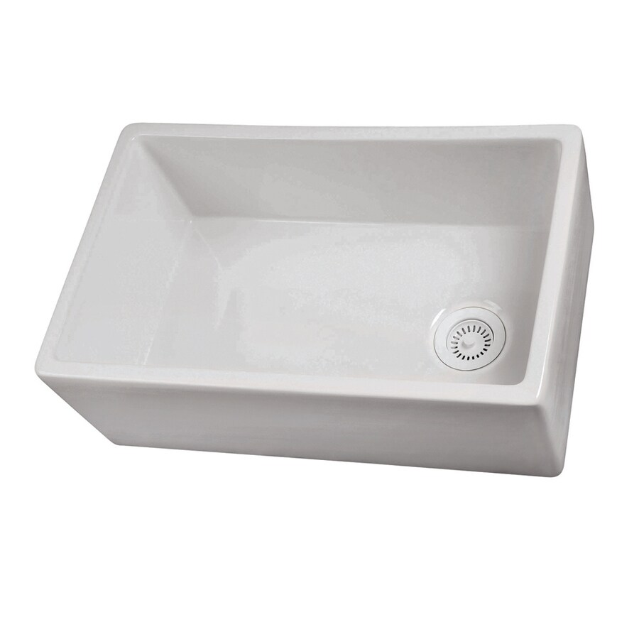 Barclay 17.5-in x 29.75-in White Single-Basin Fireclay Apron Front/Farmhouse Residential Kitchen Sink