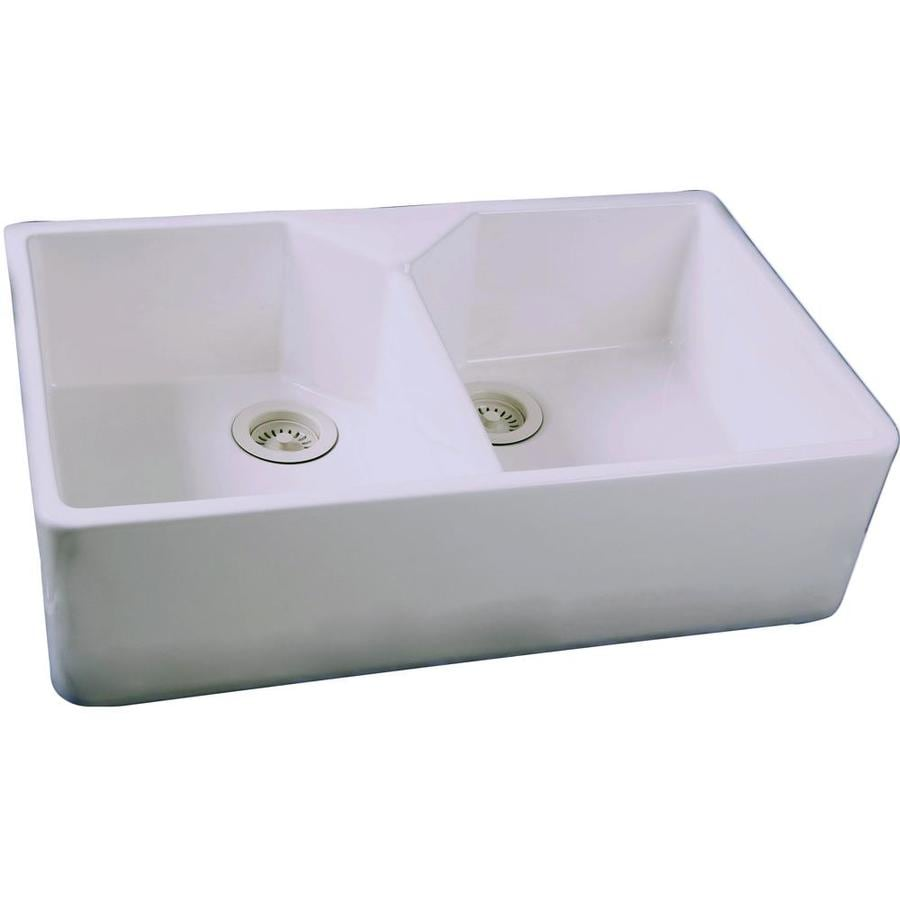 Kitchen Sink Sizes Lowes: Shop Barclay 19.5-in X 31.5-in White Double-Basin Fireclay