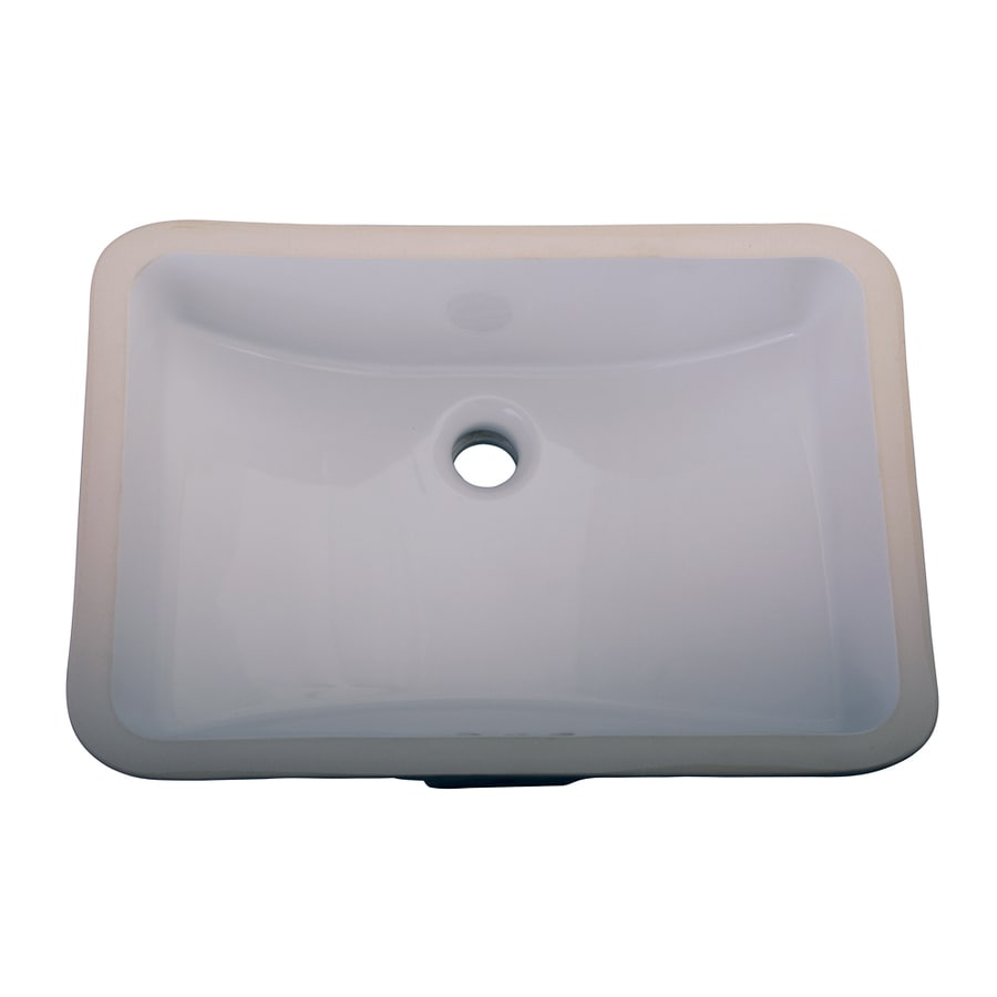 Barclay Cleo White Undermount Rectangular Bathroom Sink with Overflow