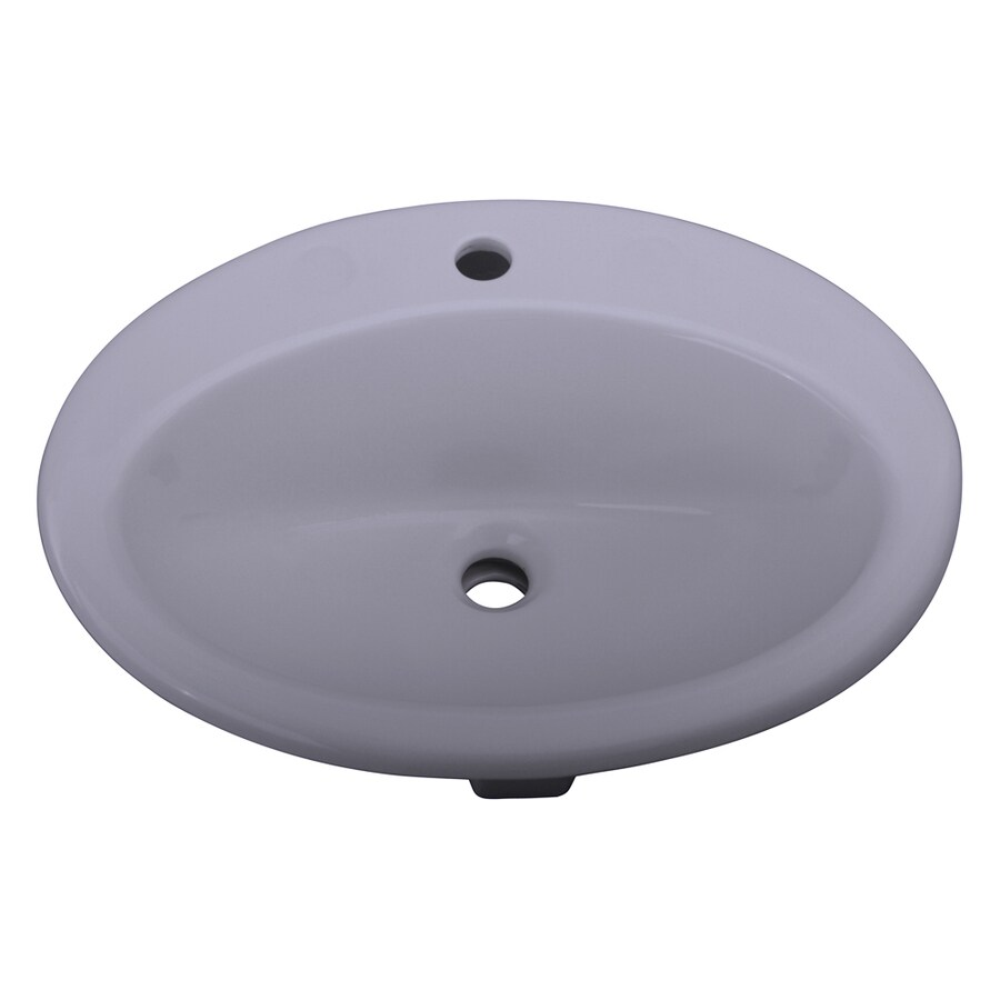 Barclay Jessica White Drop-In Oval Bathroom Sink with Overflow
