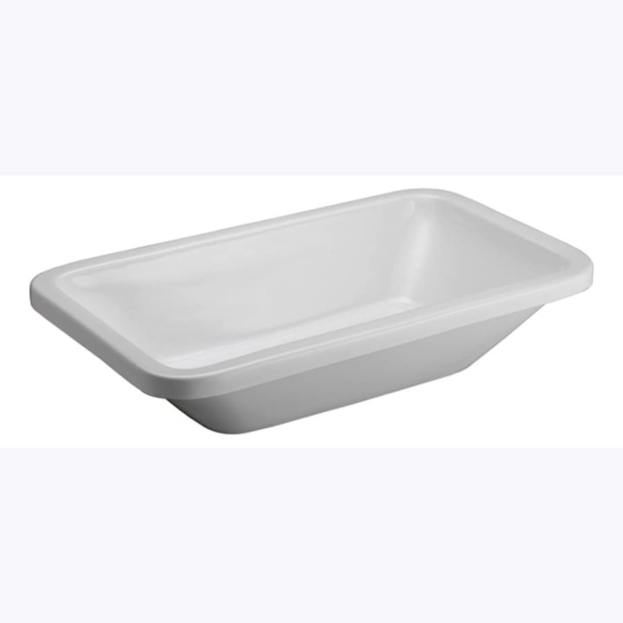 Barclay White Vessel Rectangular Bathroom Sink with Overflow