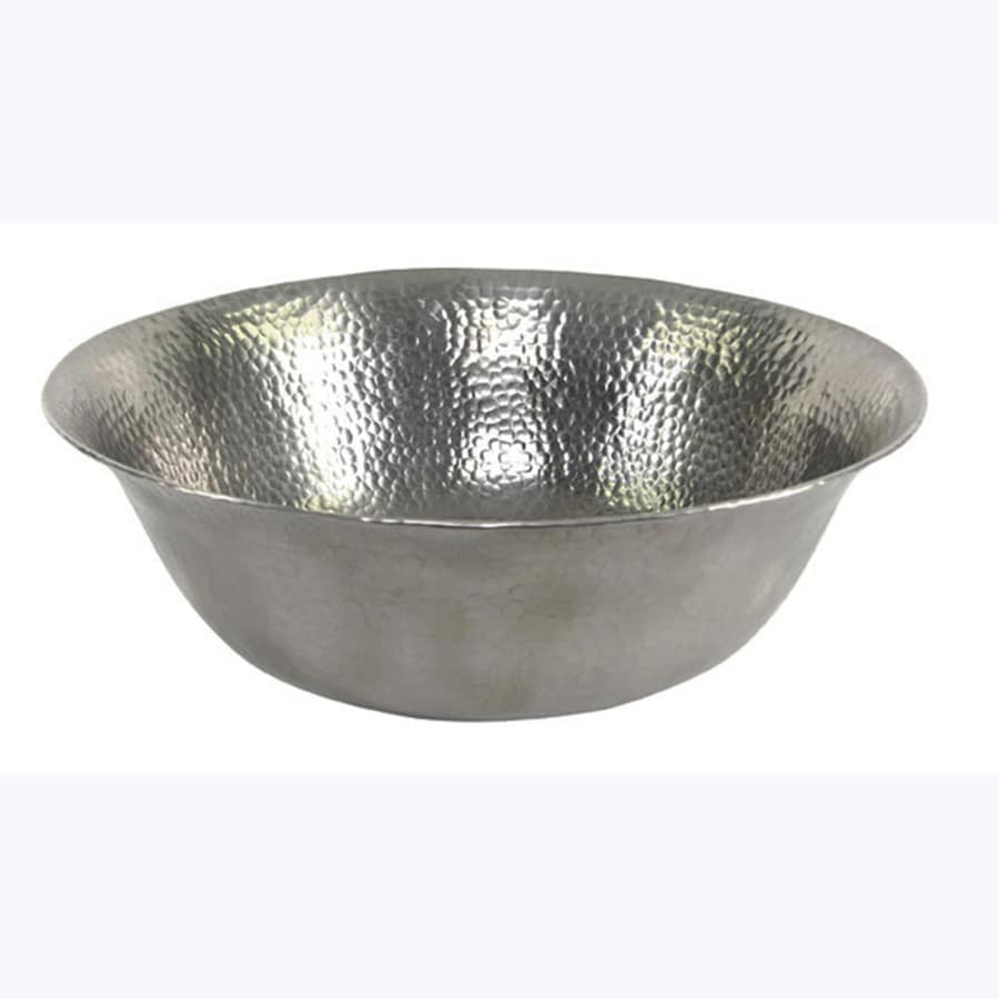 Shop barclay hammered pewter copper vessel round bathroom sink at for Hammered copper bathroom sinks