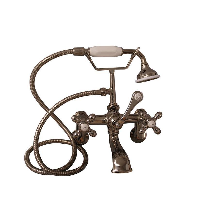 Barclay Polished Nickel 3-Handle Adjustable Clawfoot Tub Filler Bathtub Faucet