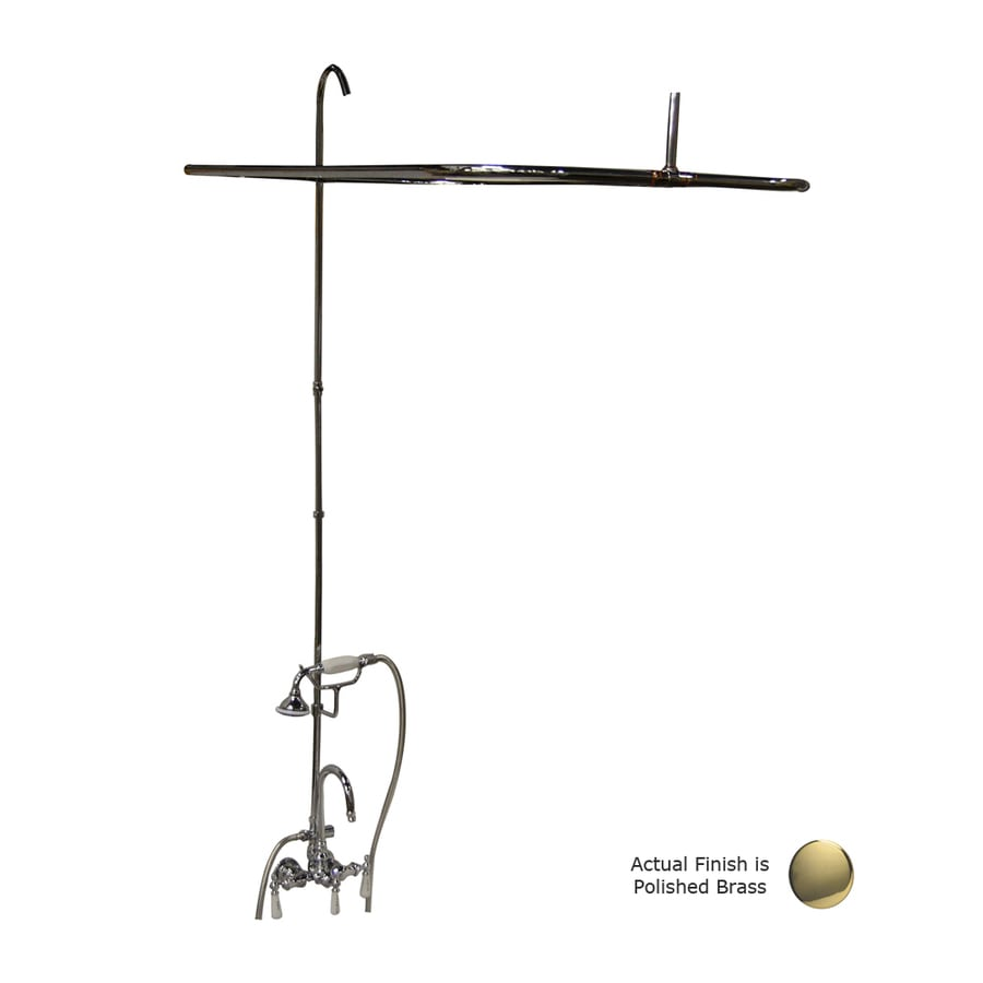 Barclay Polished Brass 3-Handle Bathtub and Shower Faucet with Single Function Showerhead