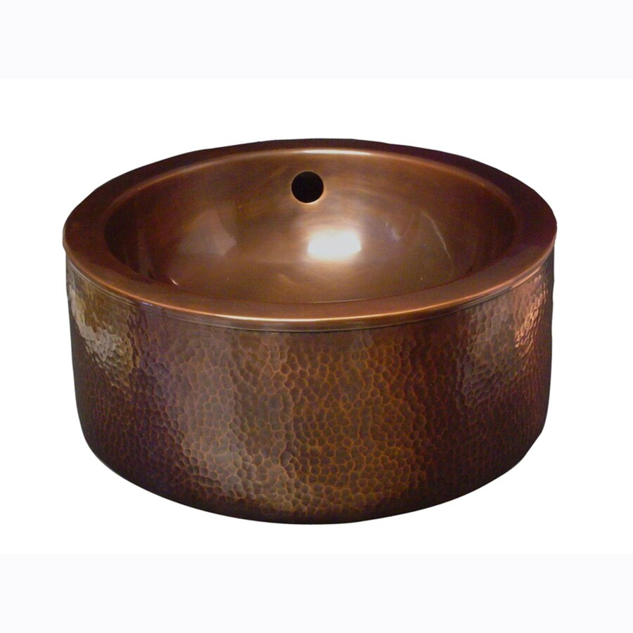 Barclay Hammered Antique Copper Vessel Round Bathroom Sink with Overflow