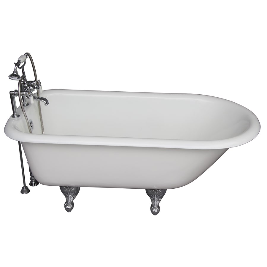 Barclay Cast Iron Oval Clawfoot Bathtub with Back Center Drain (Common: 30-in x 61-in; Actual: 23.25-in x 30.5-in x 60.75-in)