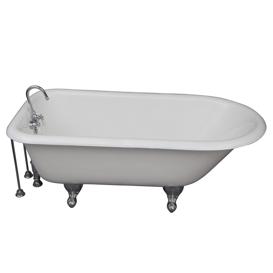 shop barclay cast iron oval clawfoot bathtub with back