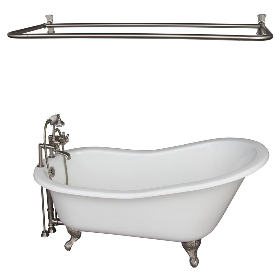 Barclay Cast Iron Oval Clawfoot Bathtub with Back Center Drain (Common: 29-in x 67-in; Actual: 29-in x 29-in x 67-in)