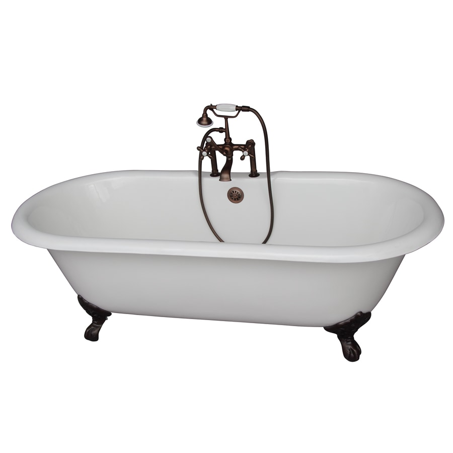 Barclay Cast Iron Oval Clawfoot Bathtub with Center Drain (Common: 31-in x 67-in; Actual: 23.25-in x 31-in x 67.75-in)