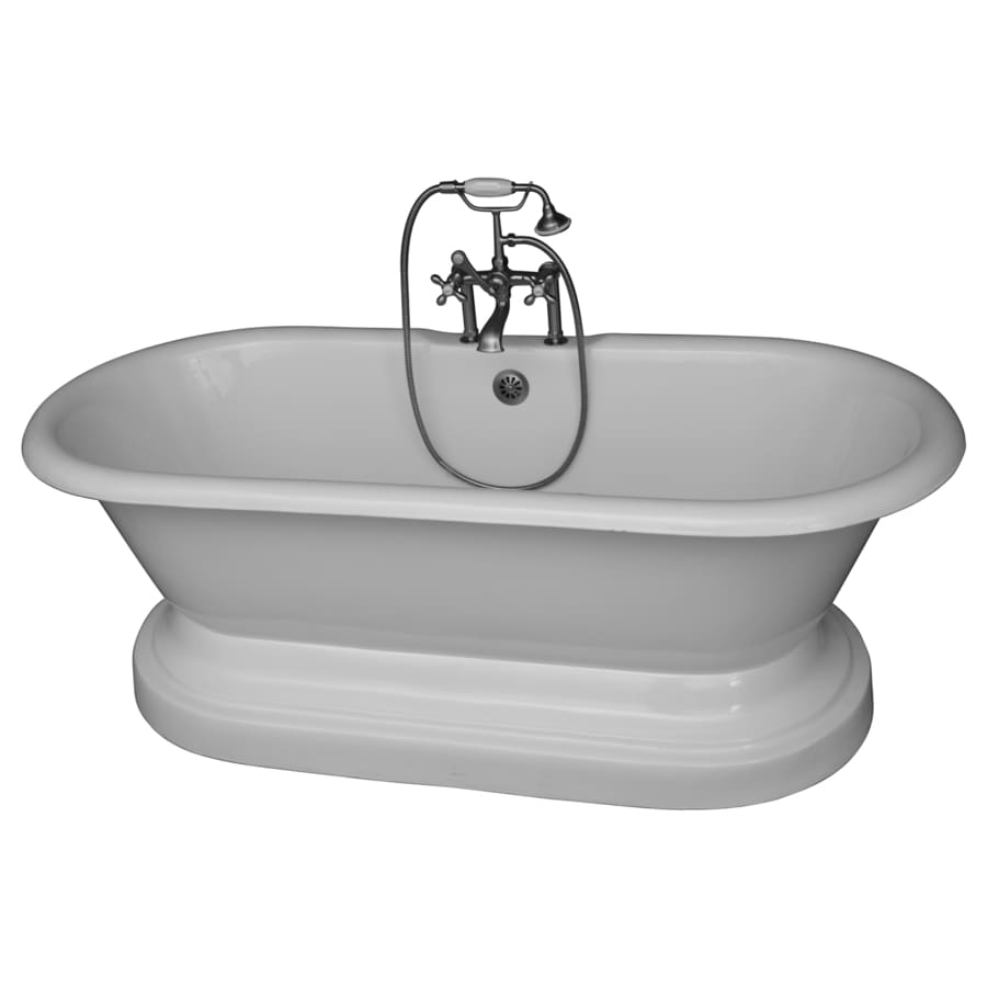 Barclay Cast Iron Oval Pedestal Bathtub with Center Drain (Common: 31-in x 67-in; Actual: 24-in x 31-in x 67.75-in)