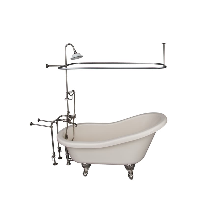 Barclay Acrylic Oval Clawfoot Bathtub with Back Center Drain (Common: 30-in x 60-in; Actual: 32-in x 30-in x 60-in)