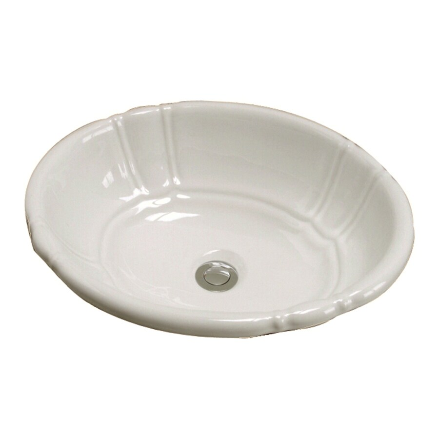 Barclay Lisbon Bisque Ceramic Drop-in Oval Bathroom Sink with Overflow