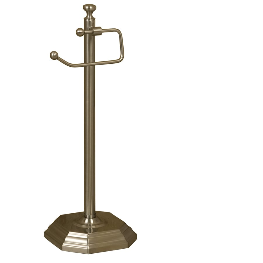 Shop barclay donovan brushed nickel freestanding floor toilet paper holder at - Brushed nickel standing toilet paper holder ...