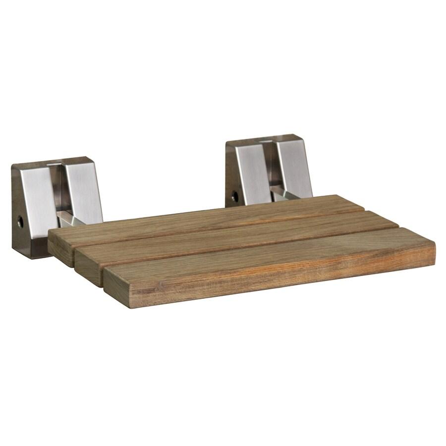 Barclay Brushed Nickel Teak Wall Mount Shower Seat