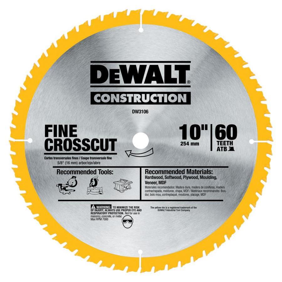 DEWALT 10-in 60-Tooth Standard Carbide Circular Saw Blade