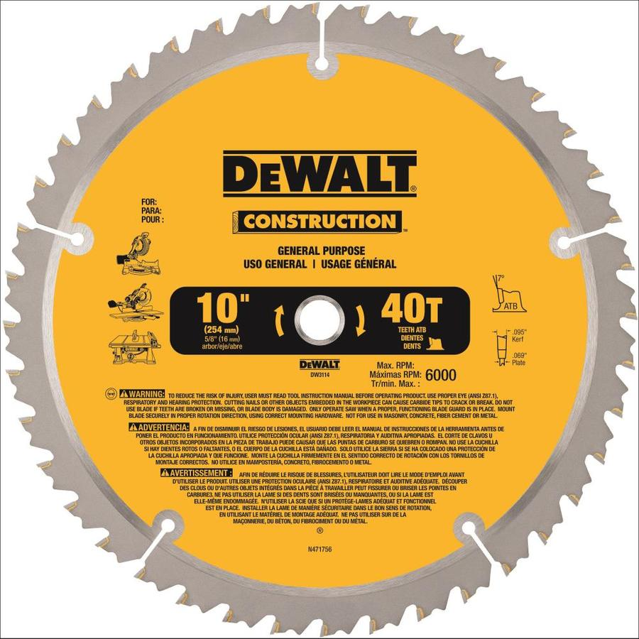 Dewalt Construction 10 In 40 Tooth Segmented Carbide Miter Table Saw Blade In The Circular Saw Blades Department At Lowes Com