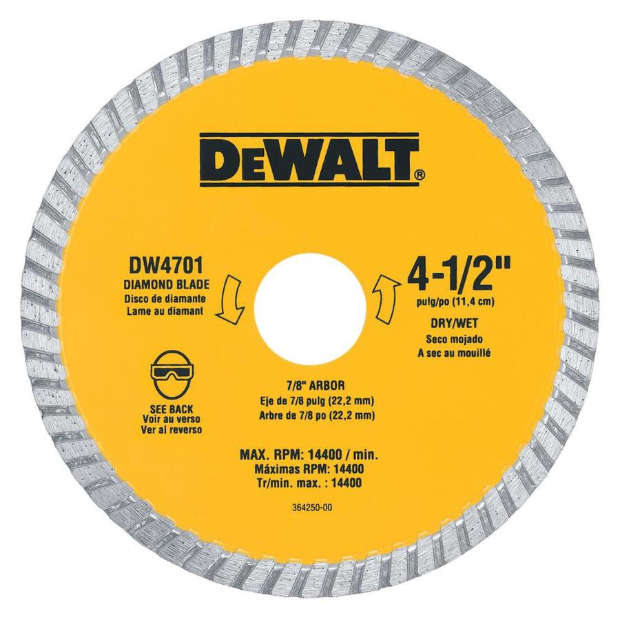 DEWALT 4-1/2-in Wet or Dry Continuous Diamond Circular Saw Blade