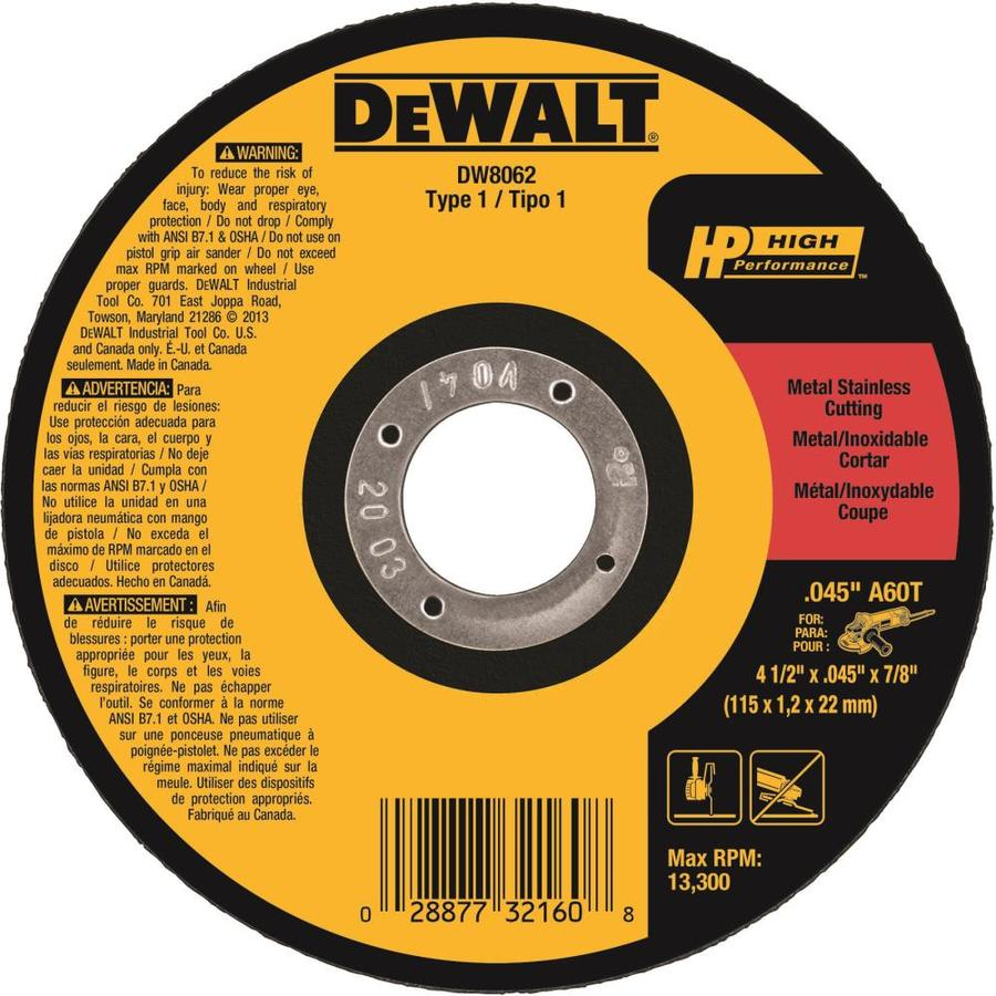 DEWALT 4-1/2-in Continuous High-Performance Aluminum Oxide Circular Saw Blade