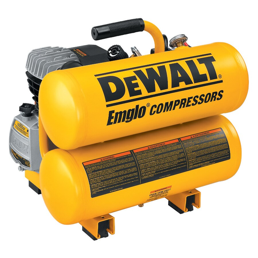 DEWALT 1.1-HP 4-Gallon 125-PSI 120-Volt Twin Stack Portable Electric Air Compressor