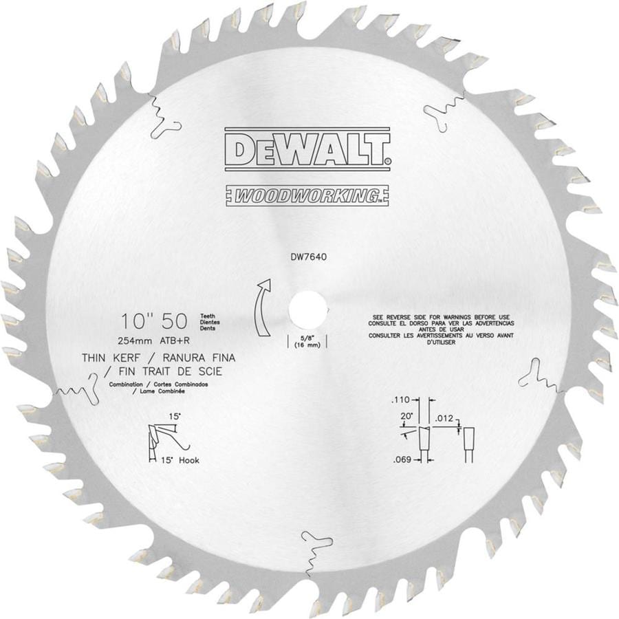 DEWALT 10-in 50-Tooth Standard Carbide Circular Saw Blade