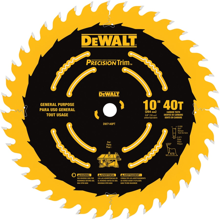 DEWALT Precision Trim 10-in 40-Tooth Segmented Carbide Circular Saw Blade