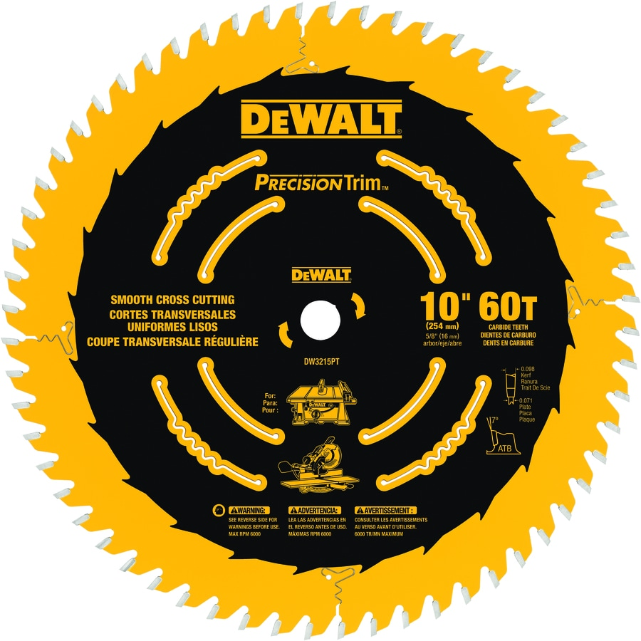DEWALT Precision Trim 10-in 60-Tooth Standard Carbide Circular Saw Blade