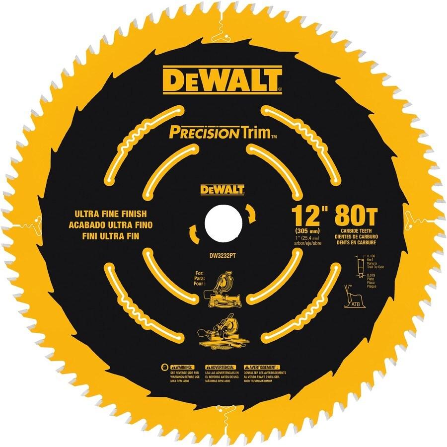 DEWALT Precision Trim 12-in 80-Tooth Standard Carbide Circular Saw Blade