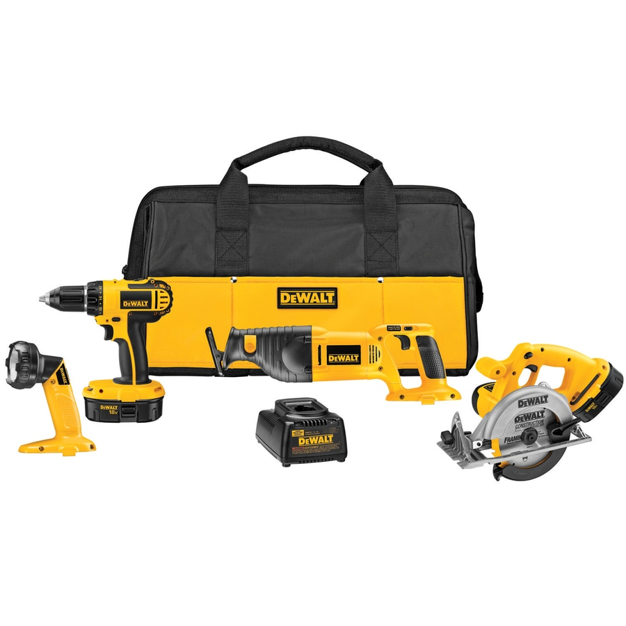 DEWALT 4-Tool 18-Volt Nickel Cadmium Cordless Combo Kit with Soft Case