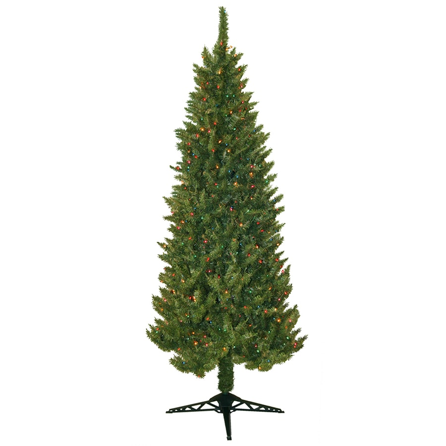 Shop ft pre lit spruce slim artificial christmas tree