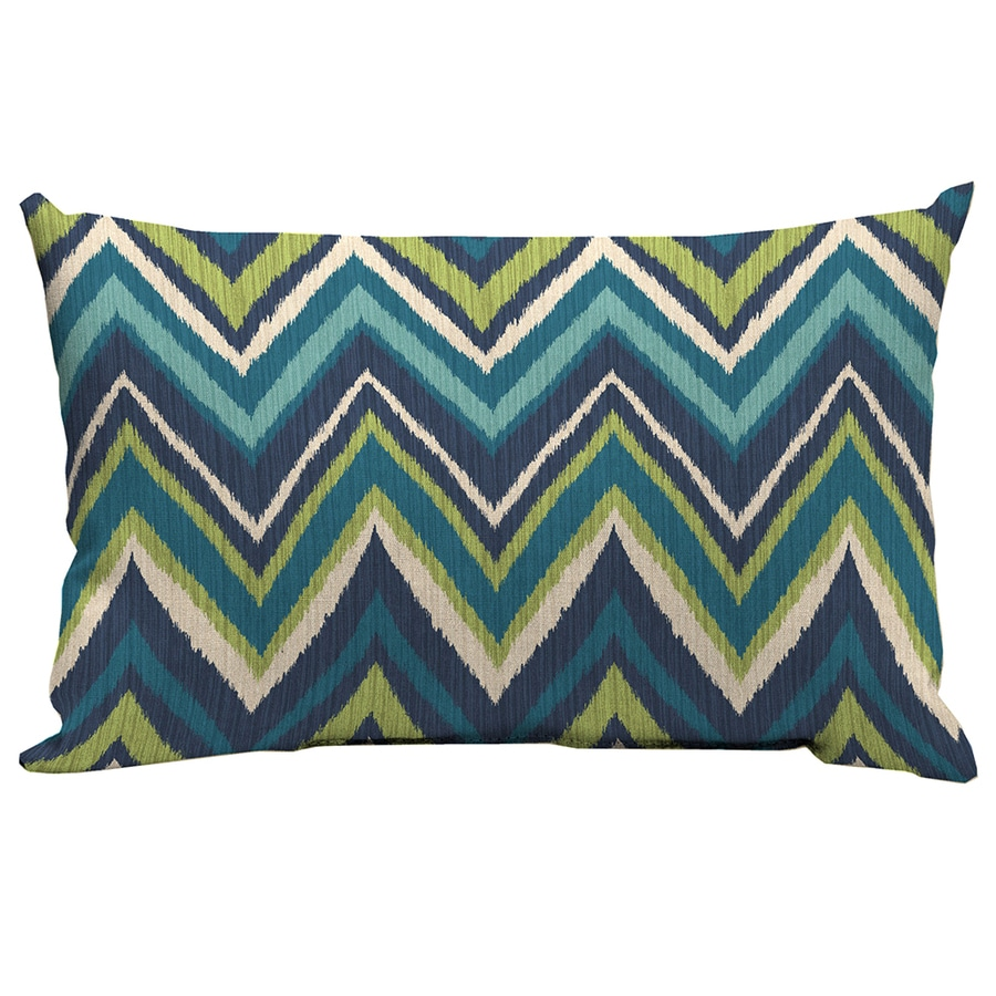 Decorative Outdoor Lumbar Pillows : Shop Garden Treasures Blue Flame Stitch Geometric Rectangular Lumbar Outdoor Decorative Pillow ...