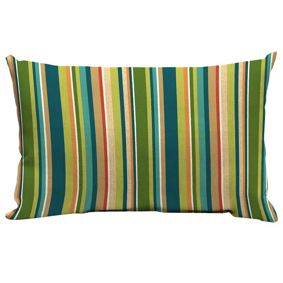 Shop Garden Treasures Bloomery Stripe Rectangular Lumbar Outdoor Decorative Pillow at Lowes.com