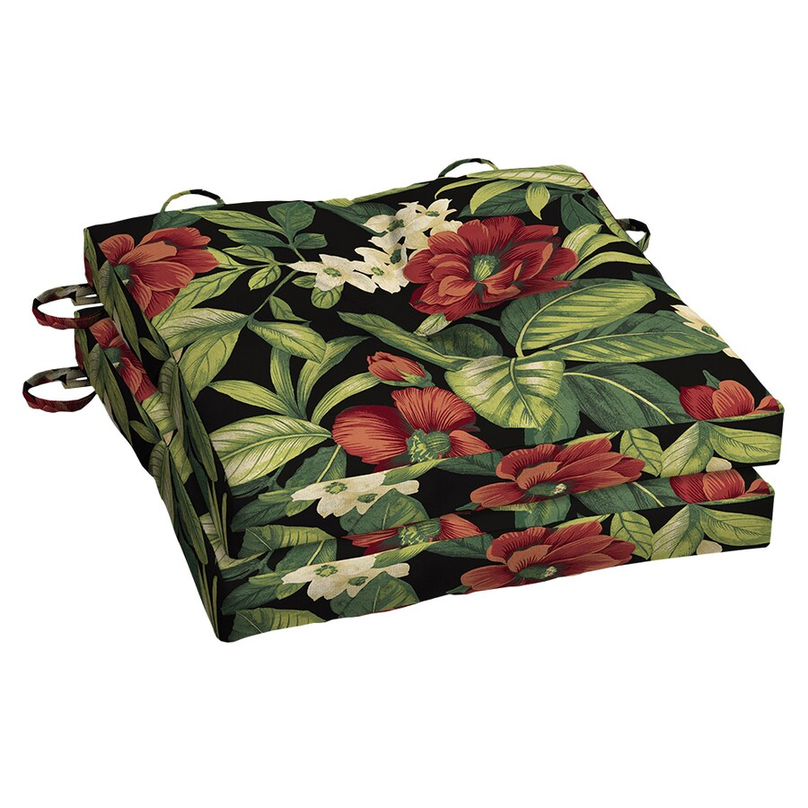 Garden Treasures Sanibel Black Tropical Seat Pad For Bistro Chair