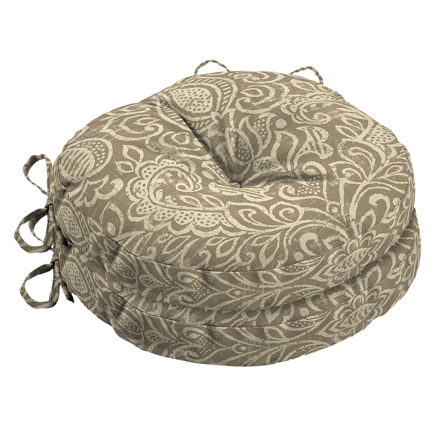 Garden Treasures Neutral Stencil Paisley Seat Pad For Bistro Chair