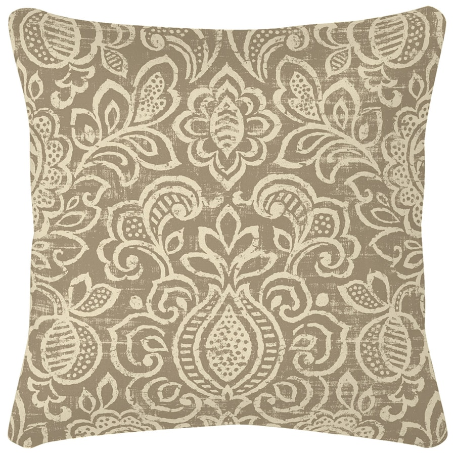 Garden Treasures Neutral Stencil Paisley Square Throw Outdoor Decorative Pillow