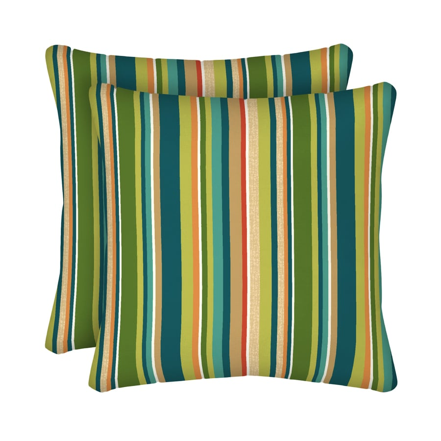 Garden Treasures 2-Pack Bloomery Stripe Square Throw Outdoor Decorative Pillow