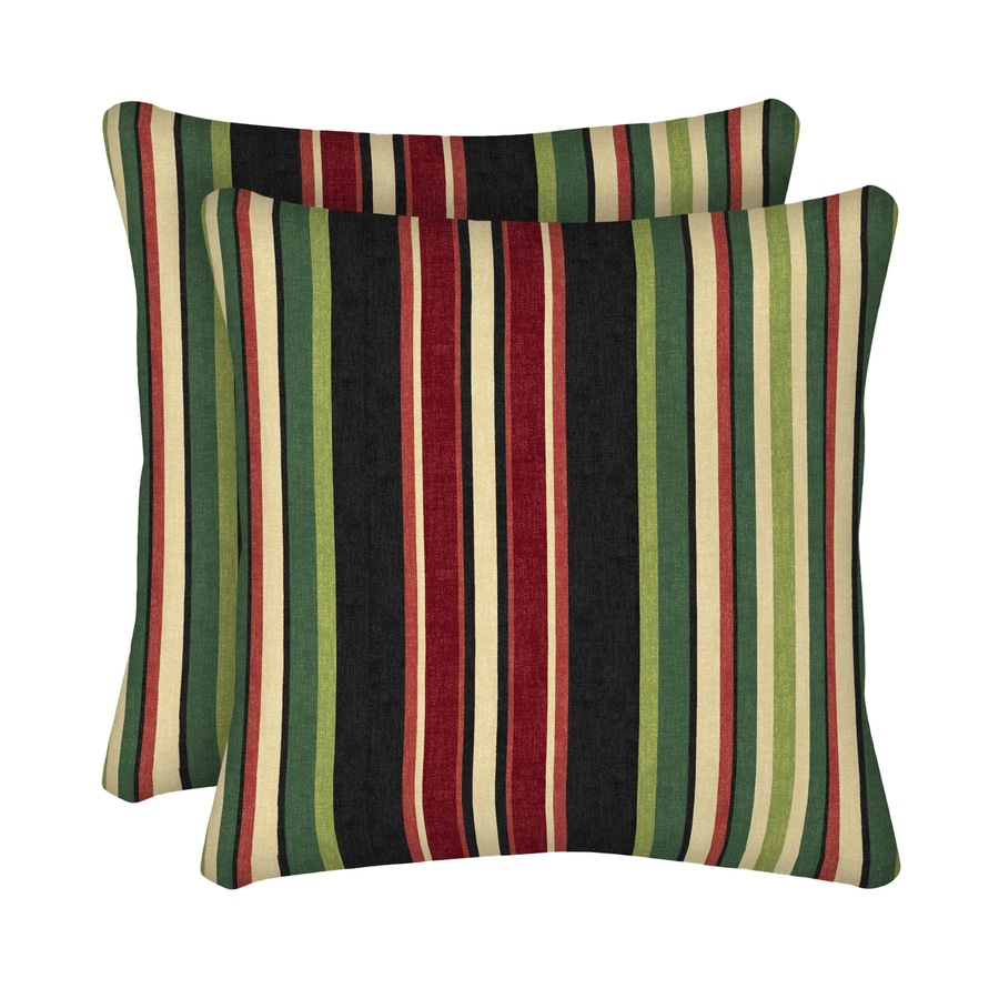 Black Stripe Throw Pillow : Shop Garden Treasures 2-Pack Sanibel Black Stripe Square Throw Outdoor Decorative Pillow at ...