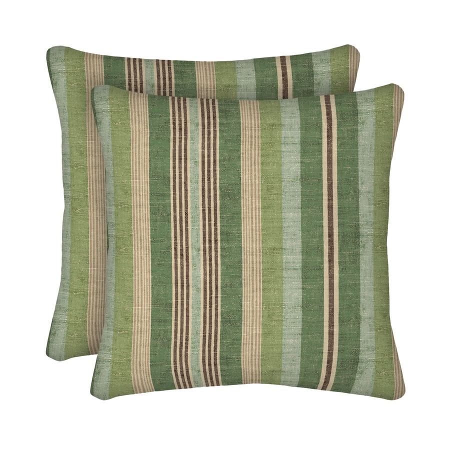 Shop Allen Roth 2 Pack Green Stripe Square Throw Outdoor