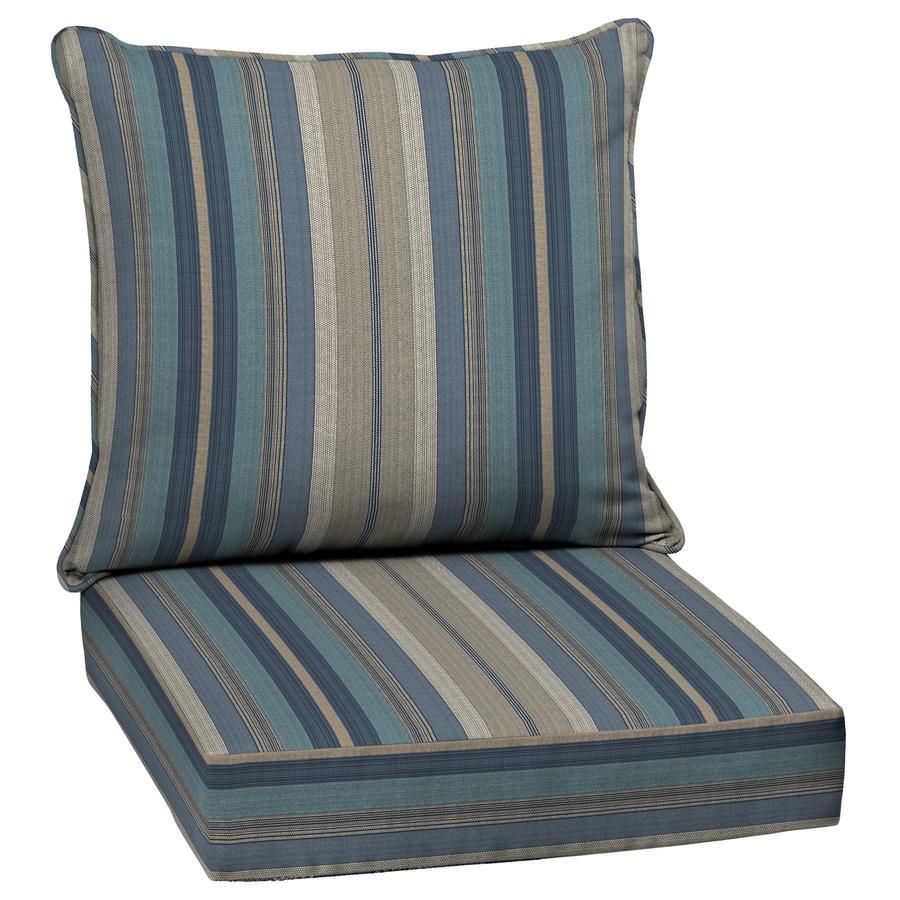 allen + roth Blue Stripe Glenlee Cushion For Deep Seat Chair