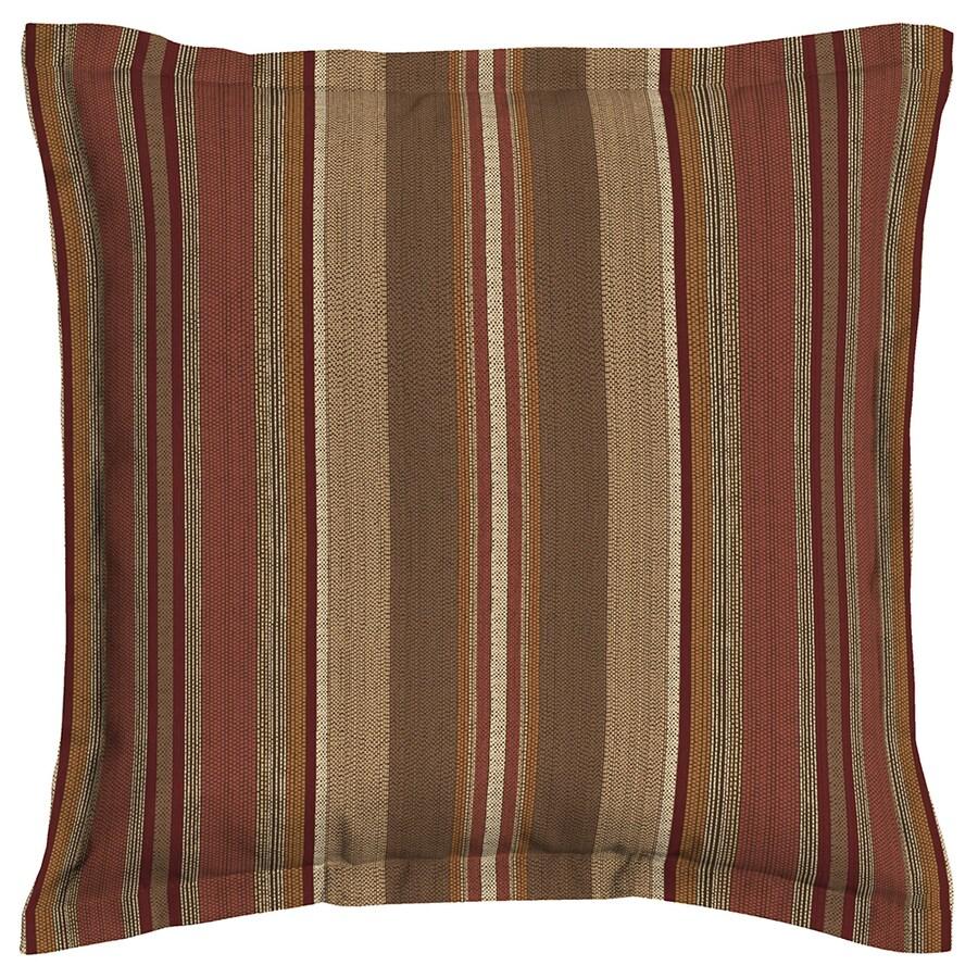 allen + roth Stripe Chili Chili Stripe Square Outdoor Decorative Pillow