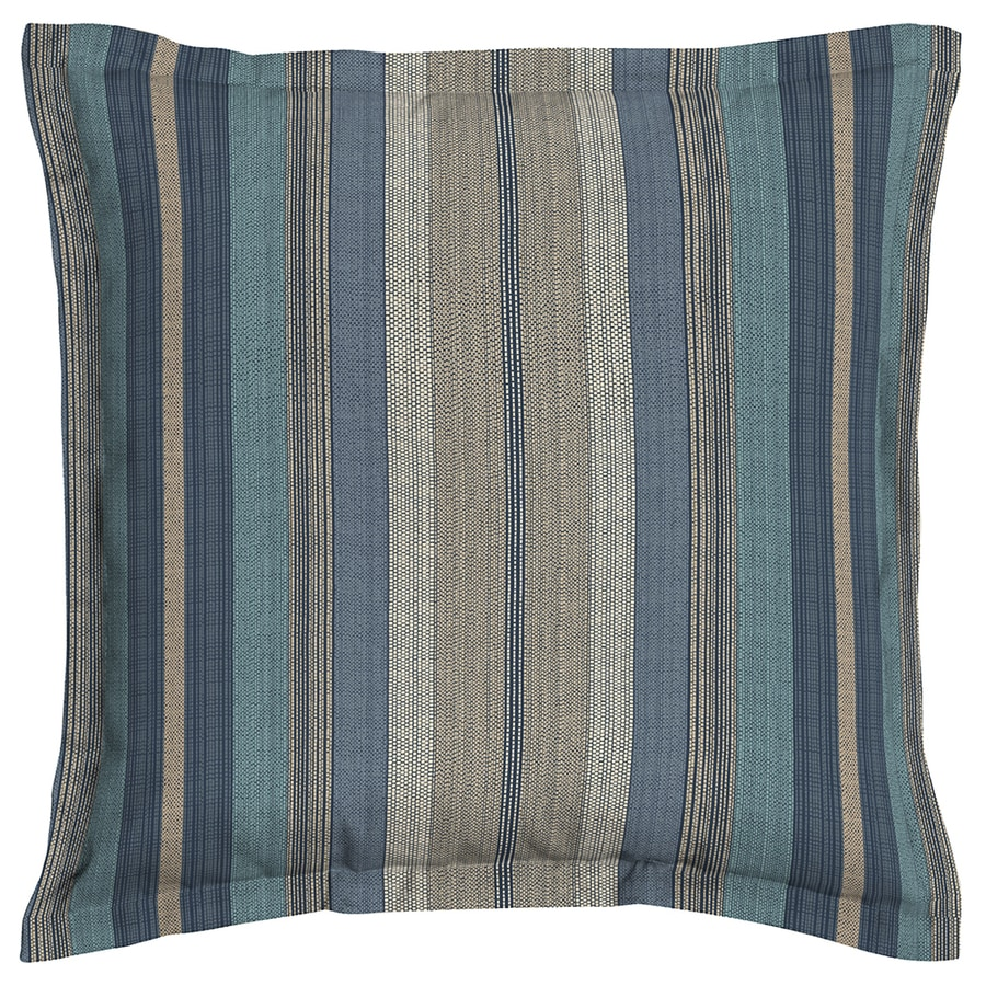 allen + roth Stripe Blue Blue Stripe Square Outdoor Decorative Pillow